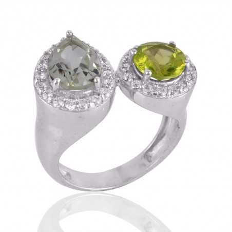 Peridot and Green Amethyst Silver CZ Cocktail Ring