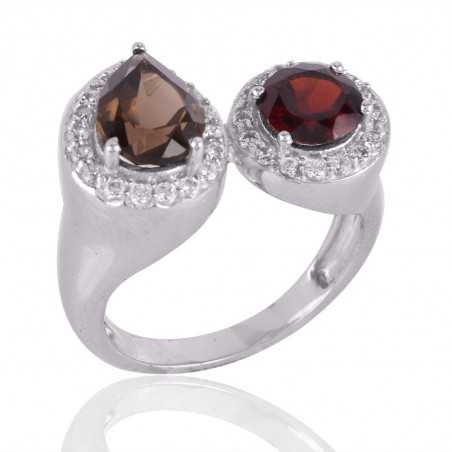 Smoky Quartz and Garnet 925 Silver CZ Cocktail Ring