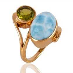 Gold Plated Larimar and Peridot Ring