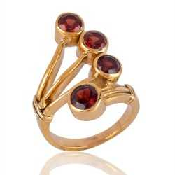 18K Gold Plated Ring with Garnet Gemstone