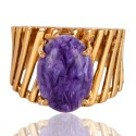 Charoite Gemstone Gold Plated Designer Fashion Ring