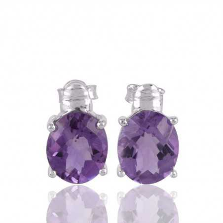 Assorted Amethyst and Sterling Silver Stud Earring Purple Stone Stud