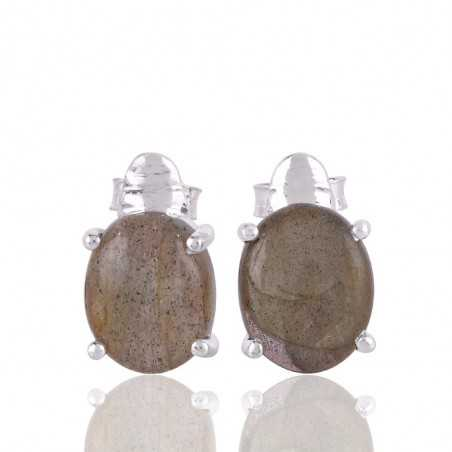 Labradorite Gemstone and Silver Stud Earring for Girl and Women
