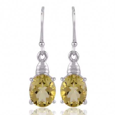 Lemon Quartz and Sterling Silver Gemstone Dangle Earrings