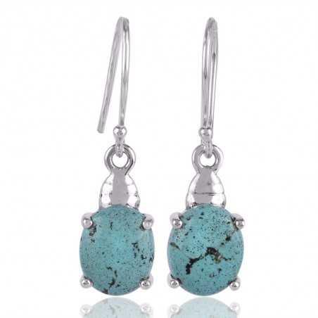Tibetan Turquoise Gemstone Designer Silver Earring