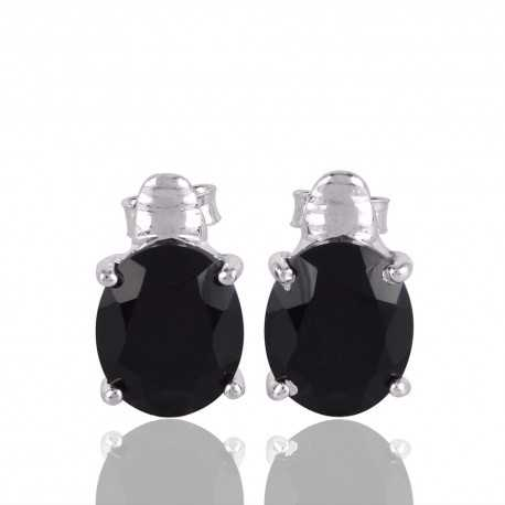 Black Onyx and 925 Silver Stud Earring for Womens and Girs