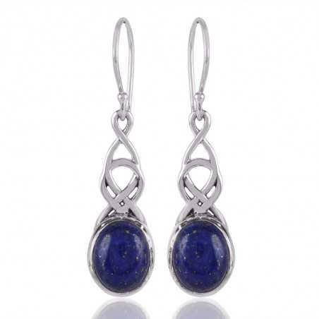Lapis Lazuli and 025 Silver Dangle Drop Earring Blue Stone Earring