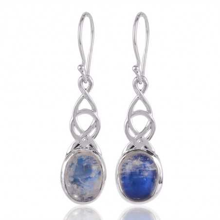 Rainbow Moonstone and 925 Silver Dangle Drop Earring White Stone Earring