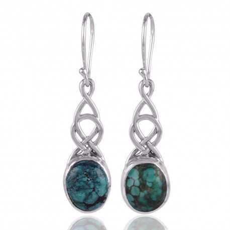 Tibetan Turquoise and 925 Silver Dangle Drop Earring Sky Color Stone Earring