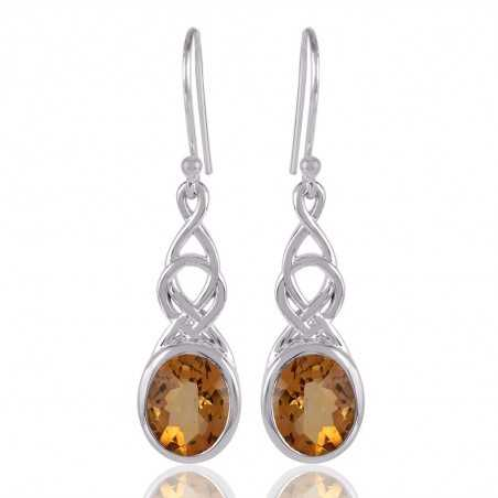 Citrine and 925 Silver Dangle Drop Earring Yellow Stone Earring