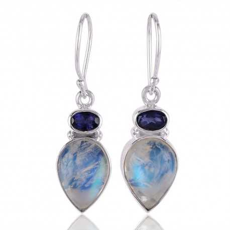 Iolite and Rainbow Moonstone Drop Earring 925 Silver Dangle
