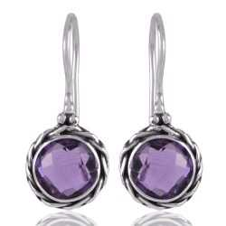 Amethyst and Twisted Wire Solid Silver Round Dangle Earring