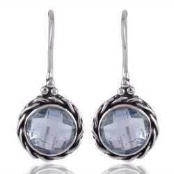 Blue Topaz and Twisted Wire Solid Silver Round Dangle Earring