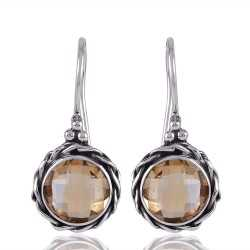 Citrine and Twisted Wire Solid Silver Round Dangle Earring