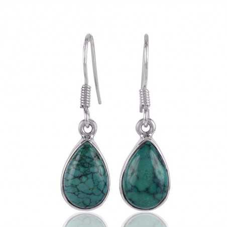 Turquoise Tear Drop Earring with Sterling Silver