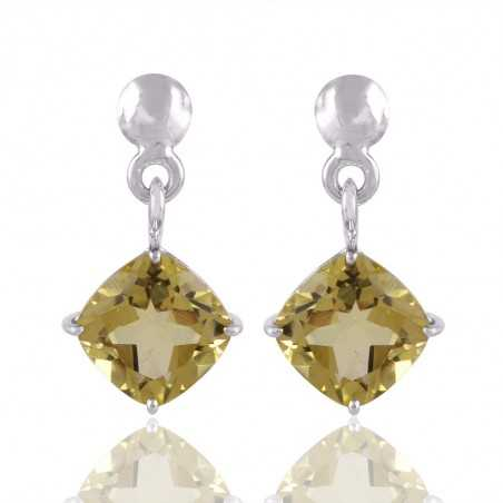 Lemon Quartz and Solid Silver Gemstone Earring in Wholesale Price