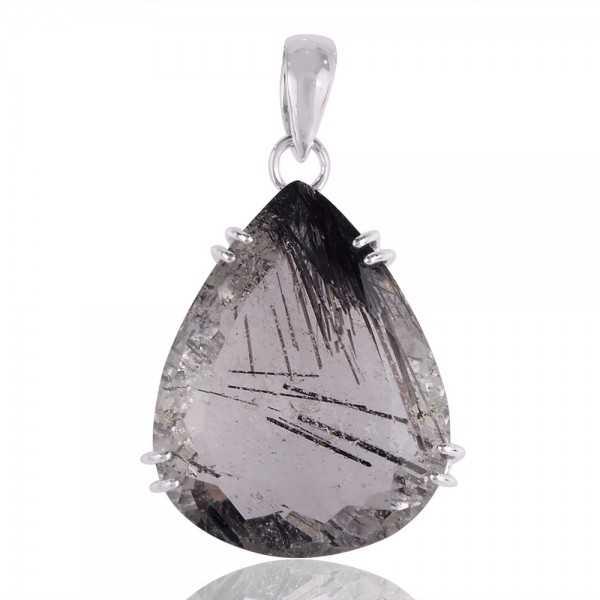 Tourmanilated Quartz Black Rutile Solid Silver Pendant Necklace Jewelry