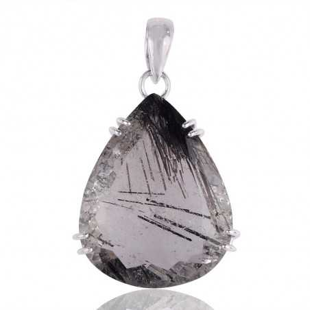 Tourmanilated Quartz Black Rutile Solid Silver Pendant Necklace Jewelry