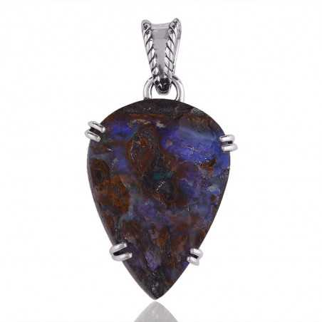 Boulder Opal Gemstone Pendant Necklace with 925 Solid Silver