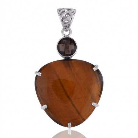 Tiger Eye and Smoky Quartz Beautiful Designer Silver Pendant Best Gift