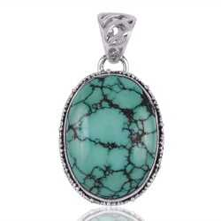 Tibetan Turquoise Oval Pendant with Sterling 925 Silver