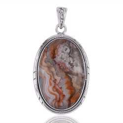 Crazylace Agate Gemstone Pendant with Sterling Silver