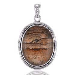 925 Solid Silver and Picture Jasper Gemstone Pendant Necklace