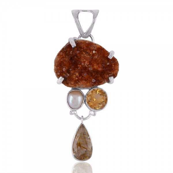 Rutilated Quartz Rutile Citrine Druzy Fresh Water Pearl Dangle Drop Three Stone Silver Pendant