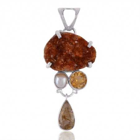 Rutilated Quartz Rutile Citrine Druzy Fresh Water Pearl Dangle Drop Three Stone Silver Pendant