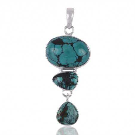 Handmade Jewelry Turquoise and Solid Silver Wholesale Price Pendant Necklace