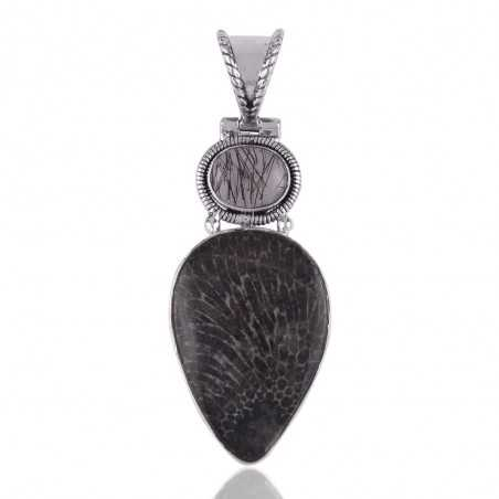 Tourmanilated Quartz Rutile and Brizone Coral Silver Pendant Necklace Wholesale Pricing Jewelry