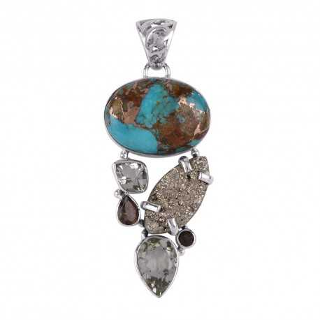 Boulder Turquoise Pyrite Green Amethyst Multi Gemstone Silver Pendant