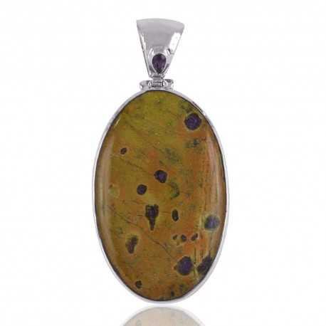 Stichtite and Amethyst Gemstone Silver Pendant Necklace Locket
