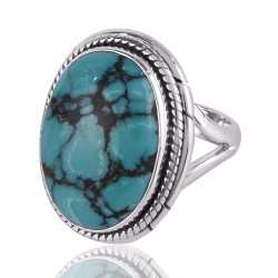 Turquoise and Sterling Silver Twisted Wire Design Ring
