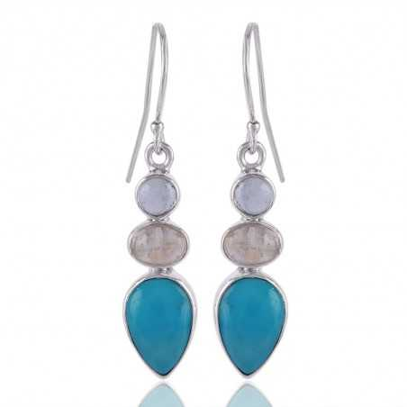 Arizona Turquoise Rainbow Moonstone And Swiss Blue Topaz Gemstone 925 Sterling Sliver Dangle Earring