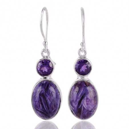 Amethyst and Charoite Drop Earring 925 Silver Dangle