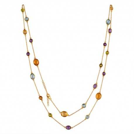 Blue Topaz Citrine Amethyst Peridot Multi Gemstone Silver Trendy Necklace