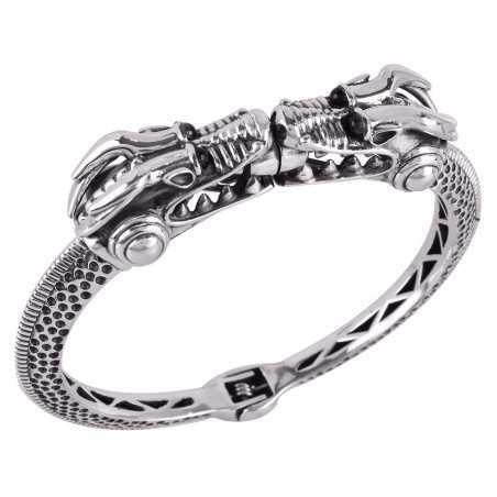 Beautiful Sterling Silver Crocodile Skull Bangle Bracelet Openable Cuff