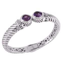 Amethyst and 925 Silver Openable Bangle Bracelet