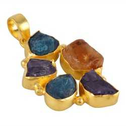 Rough Apatite Citrine and Amethyst Colorful Fashion Jewelry Pendant Gold Plated