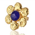 Gold Plated Blue Onyx Flower Ring Fashion Jewelry Online Wholesale