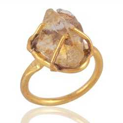 Rough Citrine Prong Set Designer Fashion Ring