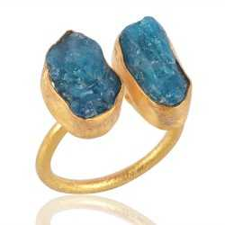 Rough Apatite Adjustbale Ring Gold Plated Trendy Jewelry Ring