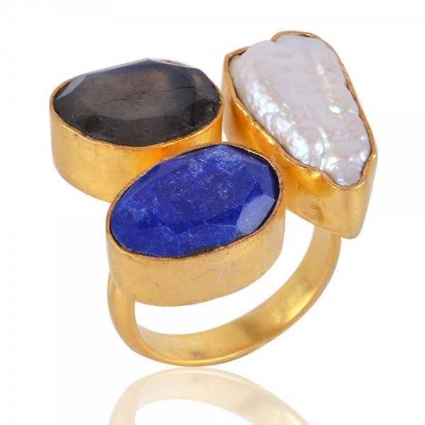 Corundum Labradorite and Biwa Pearl Fashion Ring