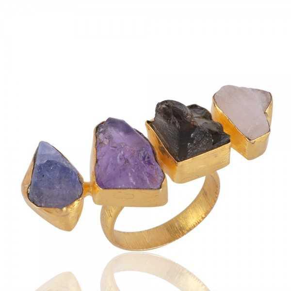 Rough Stone Amethyst Tanzanite and Moonstone Fashion Jewelry Ring