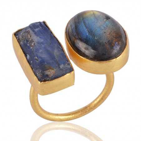 Labradorite and Rough tanzanite Gemstone Adjustbale Fashion Ring Yellow Gold