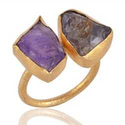 Rough Smoky and Rough Amethyst Gold Plated Adjustable Ring