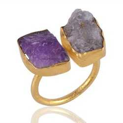 Rough Tanzanite and Rough Amethyst Fashion Ring Yellow Gold Vermeil