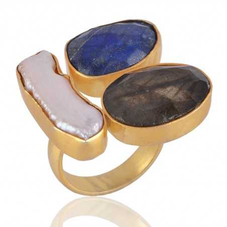 Labradorite Corundum and Pearl Gemstone fashion Jewelry Adjustable Ring