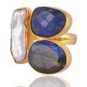 Labradorite Corundum and Pearl Gemstone fashion Jewelry Adjustable Ring